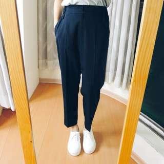 [正韓]冬天必備 高磅數寬鬆長褲(深藍)