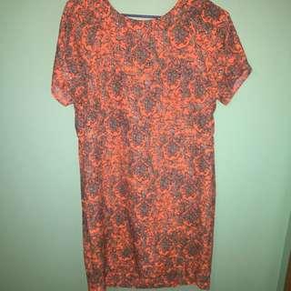 Neon Orange Patterned Dress