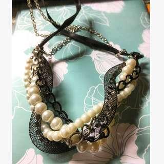 個性設計款 率性訂製 元素混搭 珍珠黑緞帶項鍊 百搭長鍊