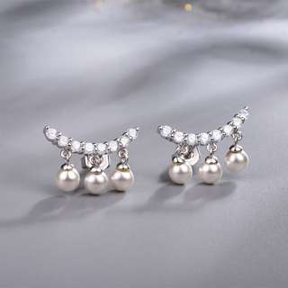 Earrings with Dangling Shell Pearl and Synthetic Diamond (Platinum-plated Sterling Silver) Model No.: SE0045 $119.90