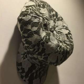 蕾絲布料時尚報童帽
