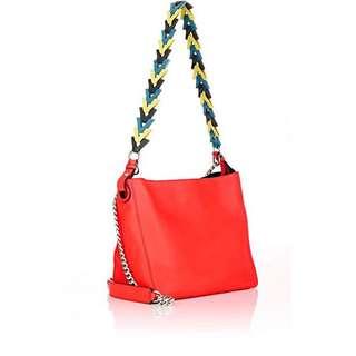 【全新】LOEWE 羅威 紅色小牛皮鏈帶肩背包/水桶包/手拿包(附V型皮革短背帶&金屬鍊帶)