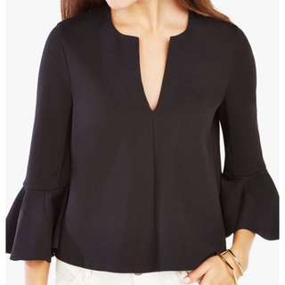 BCBG Valari Ruffled Ponte Top