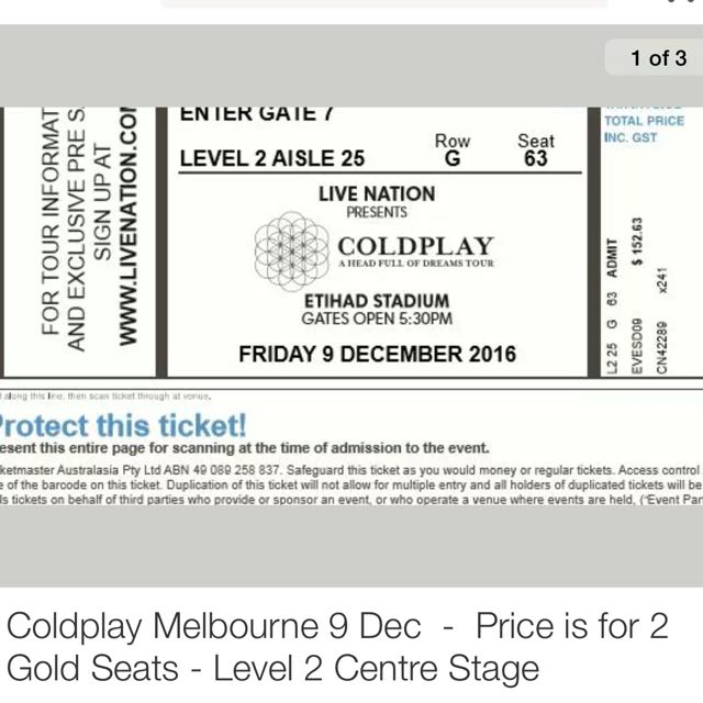 2x COLDPLAY Tickets!!! GREAT SEATS