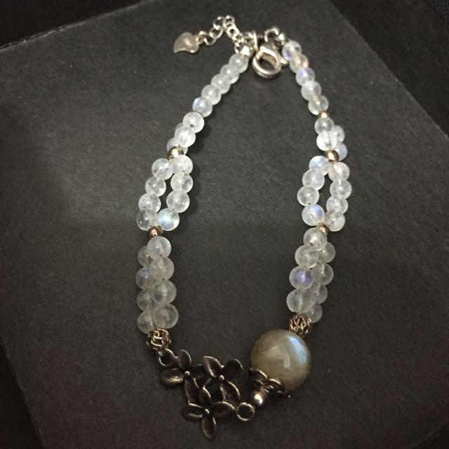 純銀月光石加灰月光石手珠鍊