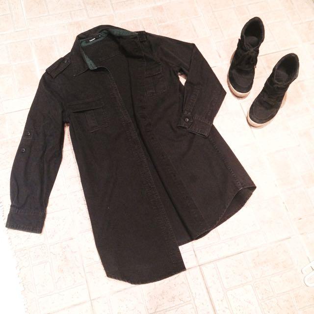 黑色刷舊水洗牛仔長版襯衫外套
