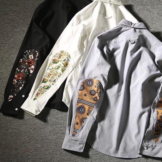 拼接花卉民族風長袖襯衫