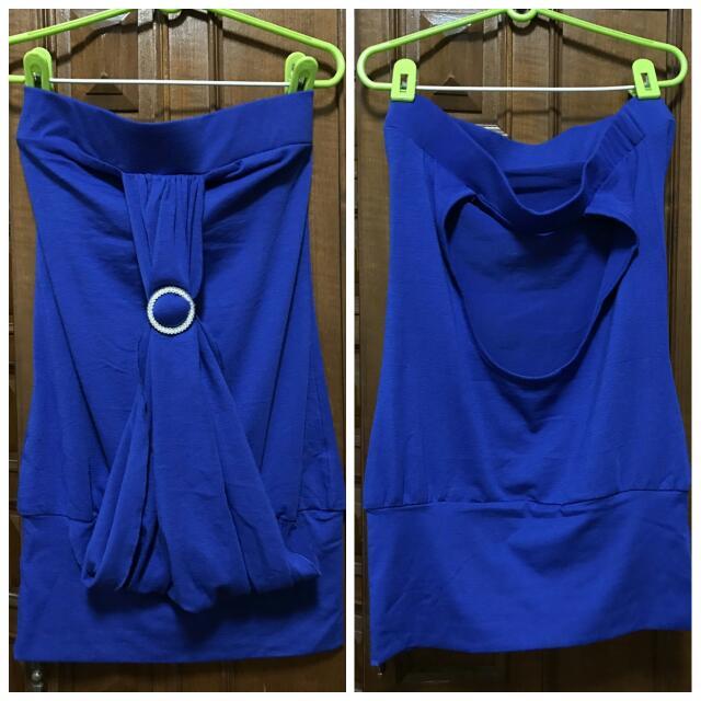 藍色平口挖背小禮服