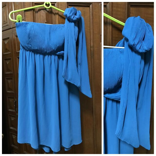 藍色平口斜肩綁帶小禮服