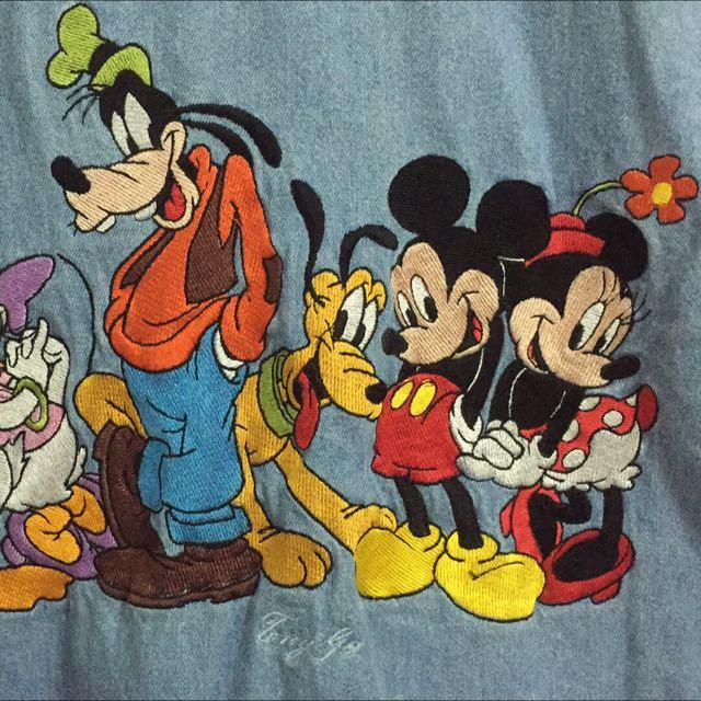 迪士尼刺繡牛仔襯衫