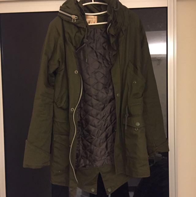 軍綠色 長版保暖外套