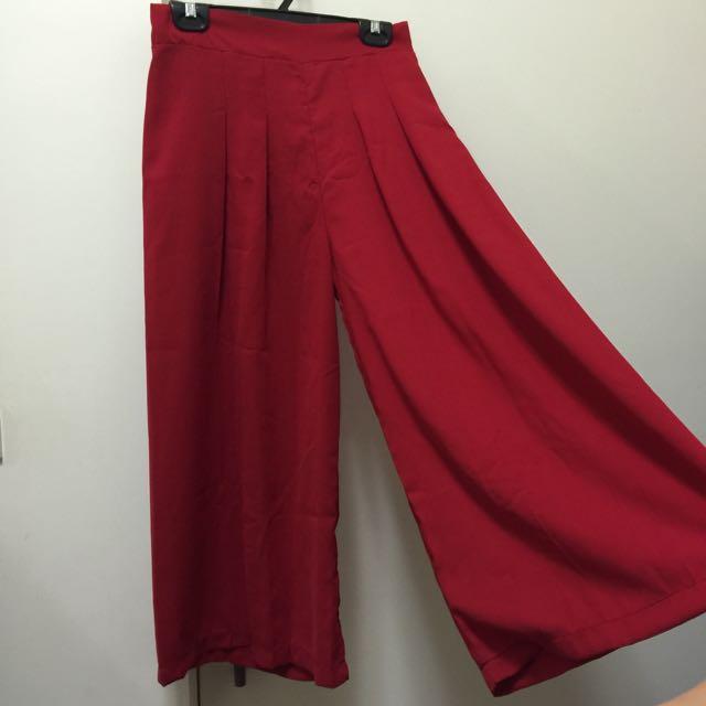 深紅色寬褲 鬆緊 含運