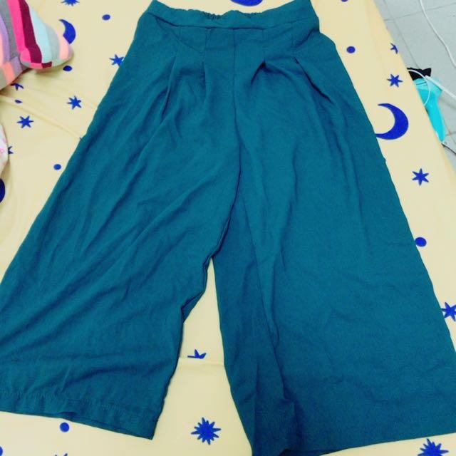 寬褲 雪紡寬褲 湖水綠 青 藍綠