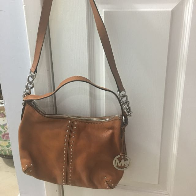 Authentic MK Brown Leather shoulder Bag With Matching Wallet