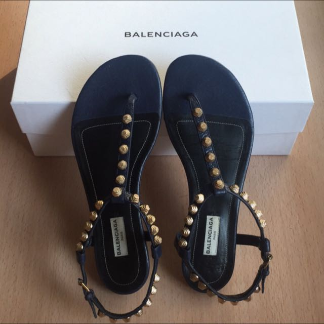 Balenciaga 巴黎世家深藍金扣羊皮涼鞋 #38