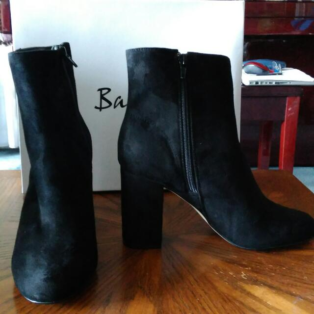 Bardot Black Suede Ankle Boots