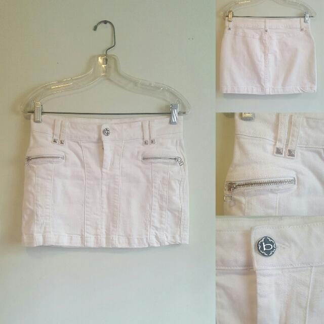 Bebe White Denim Mini Skirt