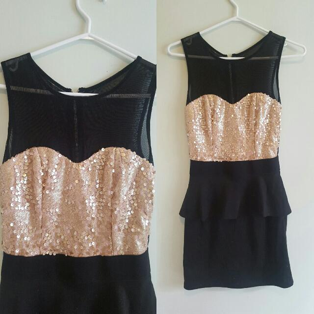 Black and Champagne Sequin Peplum Dress