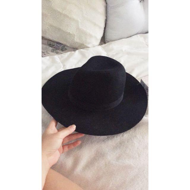 Black Classic Wide Brim Hat