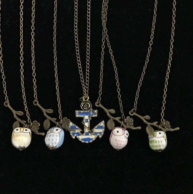 Brand New Bundle 5 Pieces Vintage Owl Pendant Necklace