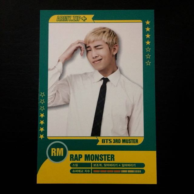 BTS RAPMON 3RD MUSTER PLAYER CARD