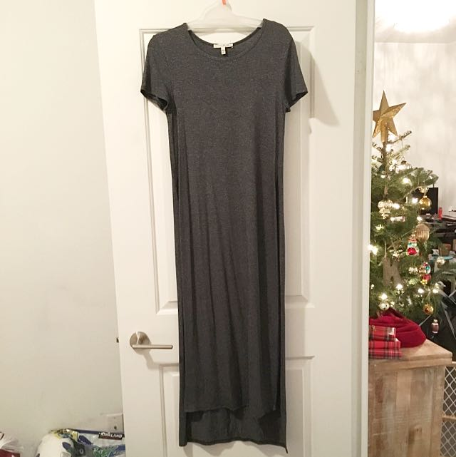 EXPRESS Long Side-Slit Charcoal T-shirt - Size Small