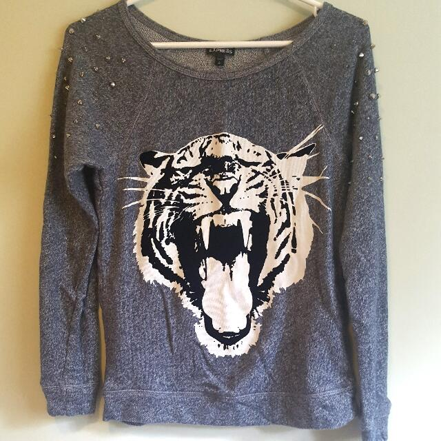 Express Studded Tiger Sweater