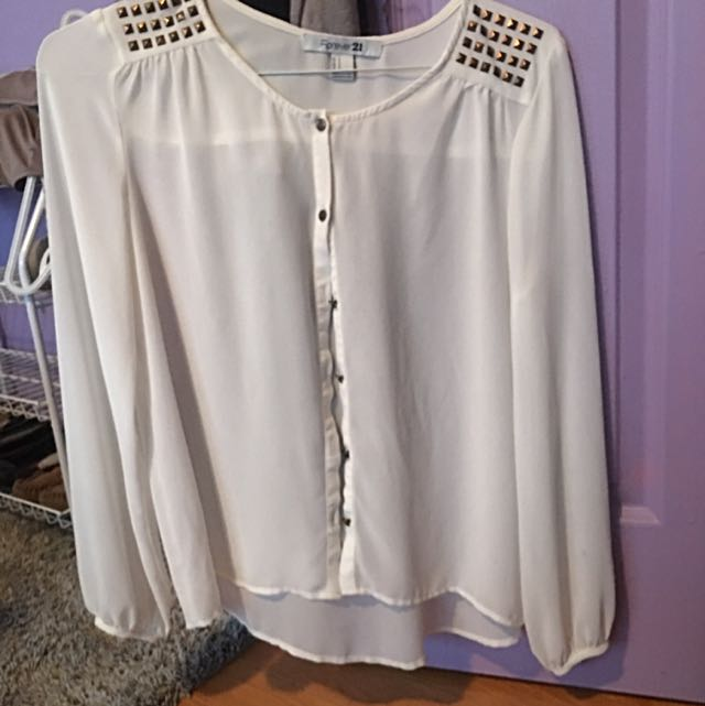 Forever 21 chiffon blouse with studded shoulders