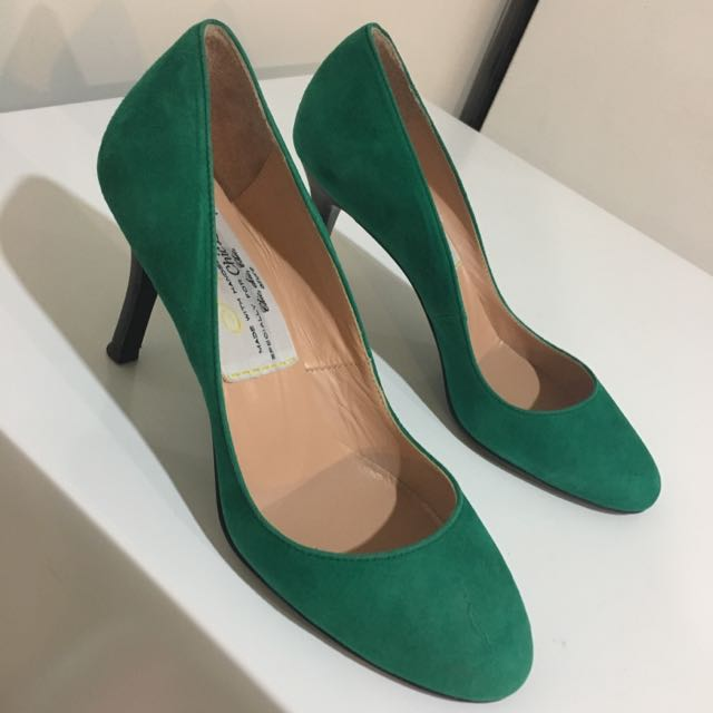 Green Suede Round Toe Pumps Size 6.5