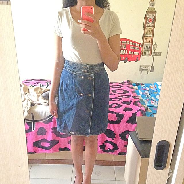 highwaist jeans skirt