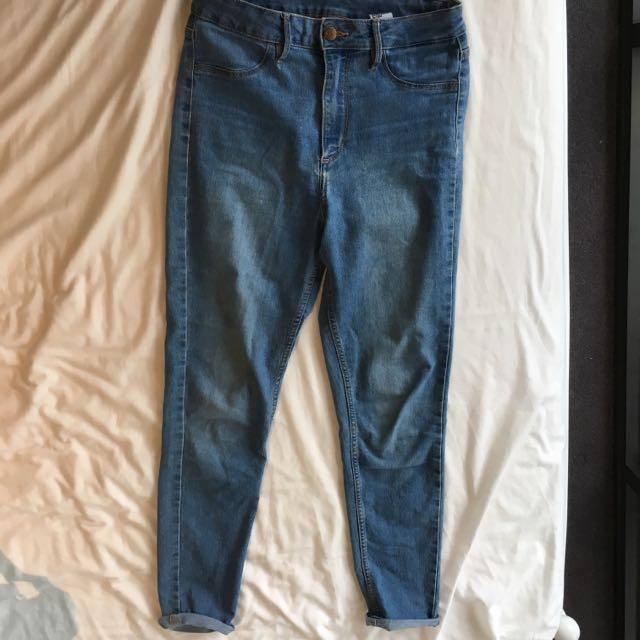 H&M Blue Highwaisted Skinny Jeans