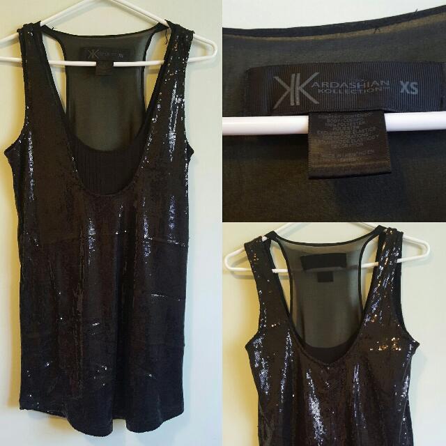 Kardashian Kollection Black Sequin Top