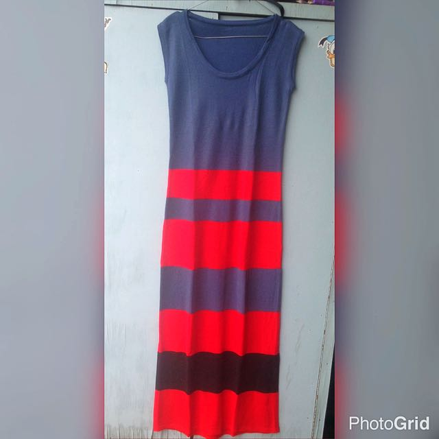 Knit Dress stripes merah n hitam