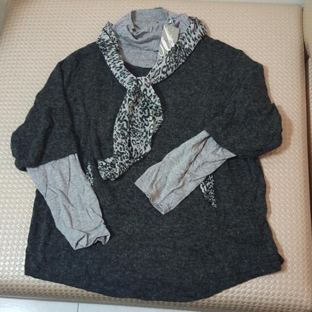 ~大尺碼~假兩件式羊毛上衣(L)