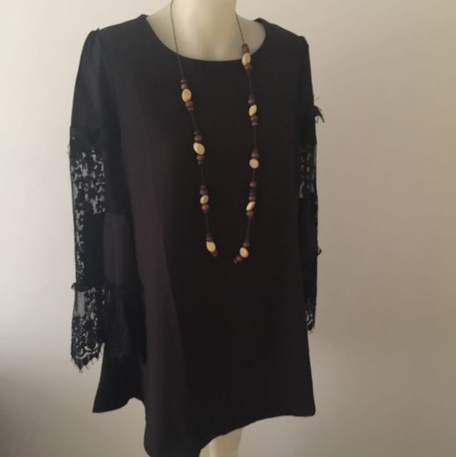 Long Sleeve With Lace Black Dress Size medium