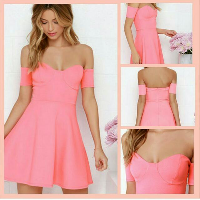Lulus Coral Sweetheart Dress