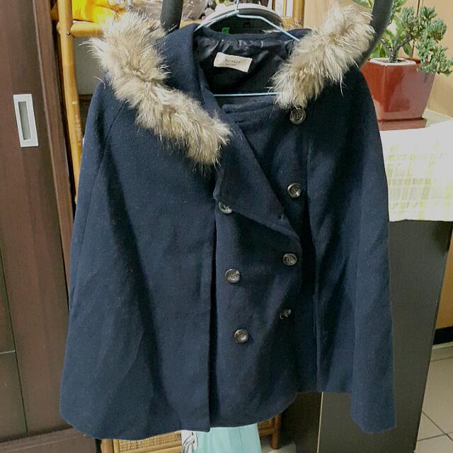 (含運)正韓-羊毛深藍連帽斗篷外套M號
