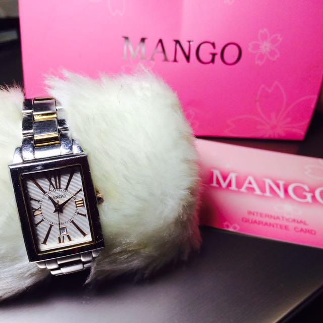 專櫃Mango方型玫瑰金女錶/方錶