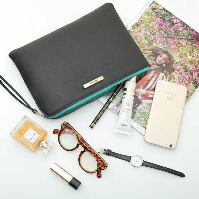 [全新]香港Mizzue ✨ 黑色進口皮潮流拉鏈手拿包-黑綠