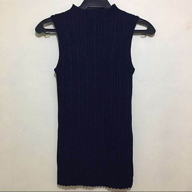 Navy Blue Knitted Sleeveless