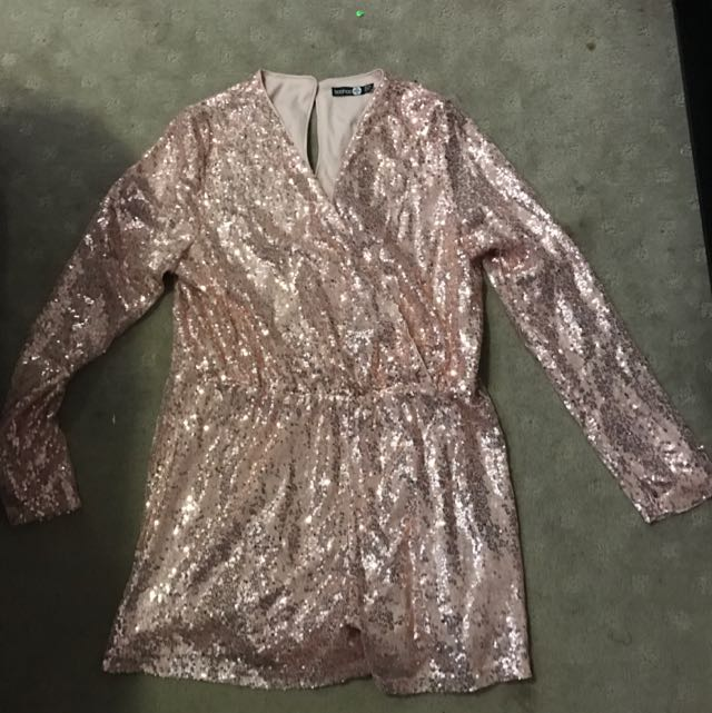 Pale Pink Sequin Playsuit