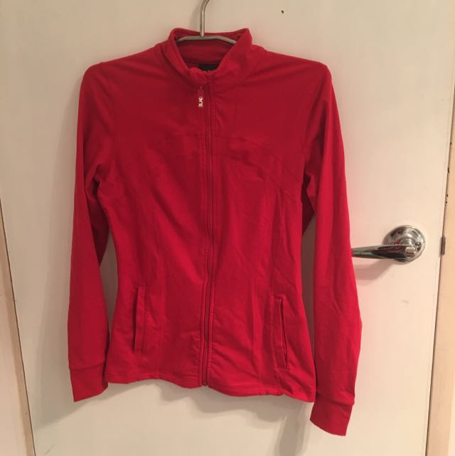 Red One Active Fitness Jacket w Thumb Holes in Sleeves
