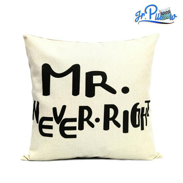 SALE!!! Sarung Bantal Sofa 45x45 soft canvas Mr Never Right