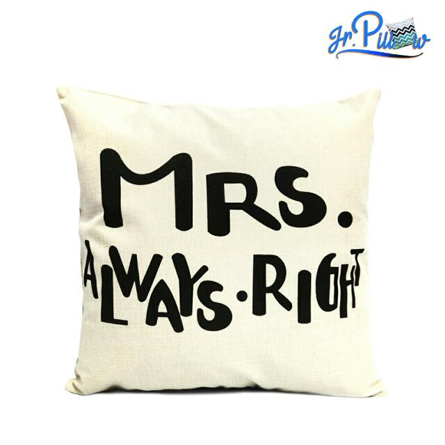 SALE!!! Sarung Bantal Sofa 45x45 soft canvas Mrs Always Right