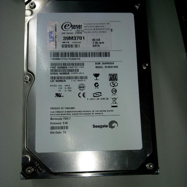 "Seagate 3.5"" 80GB IDE,無壞軌"