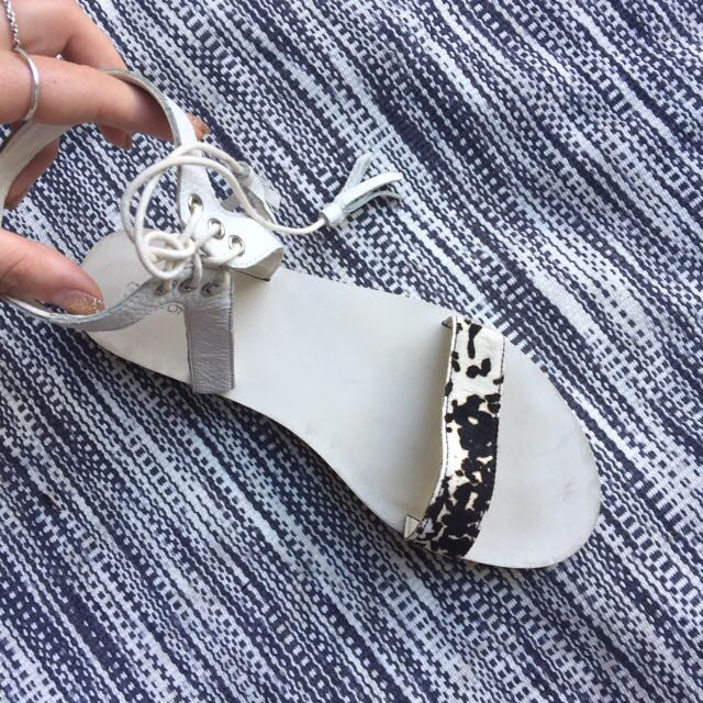 Shubar Lace Up Cow Hide Sandals