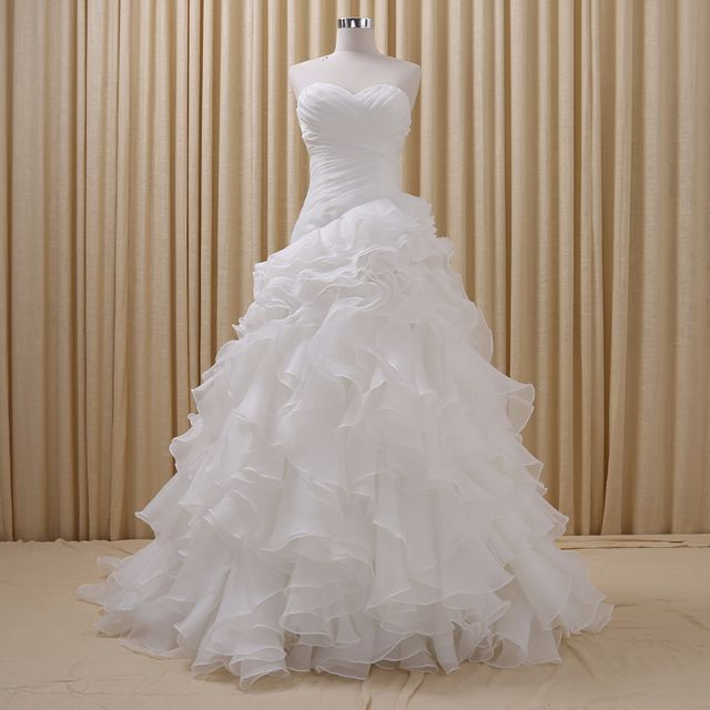 Made to Measure Wedding Dress - Sweetheart Neckline Layered Organza Ruffled Skirt Corset Back Cathedral Train RSM001
