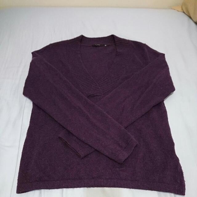 THEME 深紫色大V領毛衣