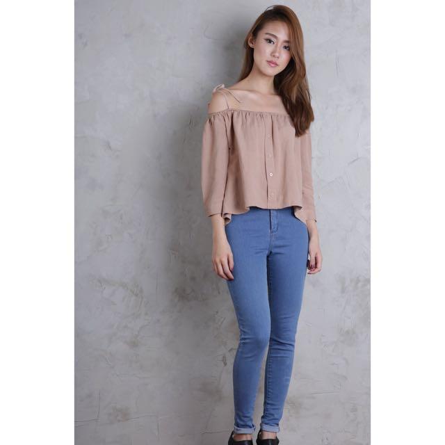 9550de39e6b274 TTR Amelie Off Shoulder Top (Khaki) - BNWT, Women's Fashion, Clothes ...