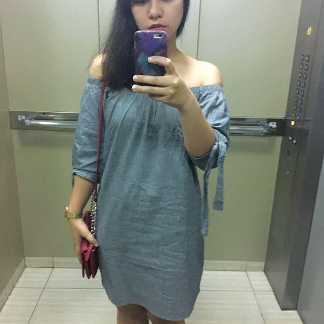 Unbranded Soft Denim Off-shoulder Dress